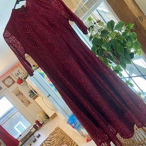 Burgundy Lace China Collar Dress